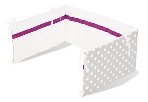 Pinolino Nestchen für Kinderbetten; Dessin Punkte grau; 165 cmx28 cmx1,6 cm, 650448-8