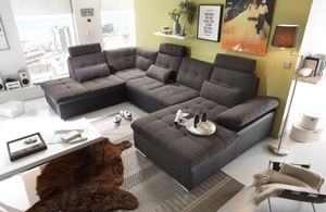 "Couch ""Jakarta"" Wohnlandschaft Sofa Lederlook Schlaffunktion Schlafsofa dunkelgrau grau Ottomane links 324 cm"