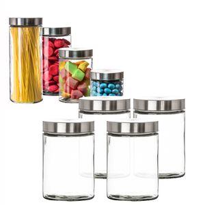 Vorratsgläser 4x 1,25 Liter Glas Schraubglas Lebensmittelglas Edelstahldeckel mit Schraubverschluss