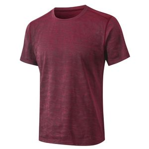 lixada Trainingsanz uege Herren Sport T Shirt Camouflage Print Schnelltrocknen Elastic O Neck Kurzarm Laufen Fitness Fitness Gym Sportswear,Burgundy,Groesse:M