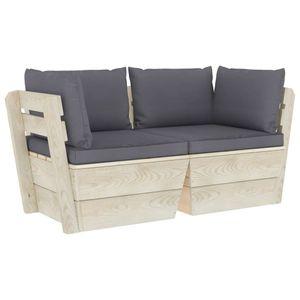 Eleganter Garten-Palettensofa 2-Sitzer Sofa Couch für 2 Personen mit Kissen Fichtenholz #DE467373