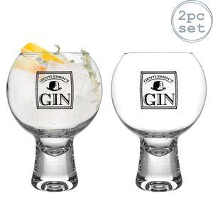 iStyle My Home 2 Stück Ikonic Herren Gin Gläser Set - Verzierte Short Stem Spanisch Ballon Copa de Balon Gin und Tonic Glass - 540ml