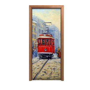 Türposter 80x200 cm Türaufkleber Türtapete Türfolie Klebefolie Straßenbahn in alten Stadt Landschaft