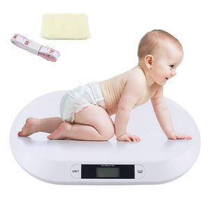 Digital  Babywaage  Tierwaage Haustierwaage Kinderwaage  Säuglingswaage bis 20kg      mit Handtuch + Lineal (Weiß)