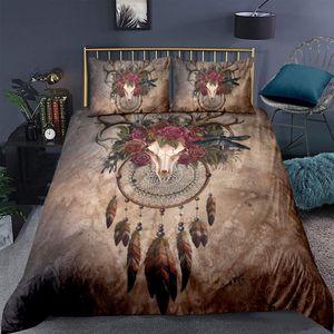 Boho Rehkopf Bettbezug 200x200cm Bettwäscheset Traumfänger Rose Blumen drucken Bettwäscheset Indianische Stammes-ethnische Federn dekorativ mit 2 Kissenbezug 50x75 cm