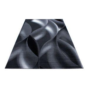Kurzflor Teppich Schattenmuster Wohnzimmerteppich Hellgrau Schwarz Meliert, Grösse:160x230 cm