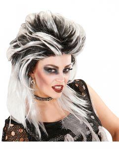 Schwarz-Weiße Zombie Punk Perücke für Halloween und Fasching
