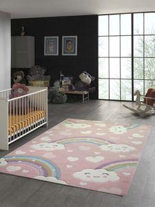 Kinderteppich Regenbogen mit Wolken und Herzen in rosa Größe - 140x200 cm