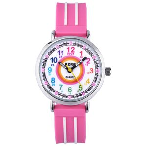 KZKR Nylon Armbanduhr Mädchen Kinderuhr Uhr Lernuhr Kinder Kinderarmbanduhr Jungen Watch Quartz Analog Rosa