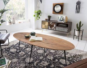SIT Möbel Couchtisch oval   Tischplatte Akazie   Beine Metall   B 150 x T 60 x H 45 cm   natur   01053-27   Serie THIS & THAT