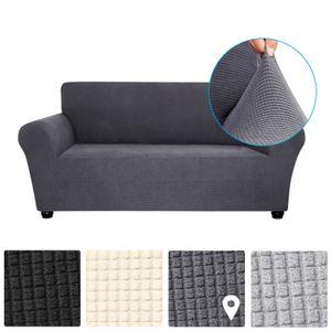 Decdeal Stretch Sofabezug Anti-Slip Soft Couch Sofabezug Waschbar fuer Wohnzimmer Kinder Haustiere 2 Sitz dunkelgrau