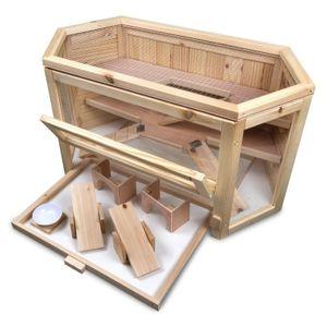 Hamsterkäfig Lucky aus Holz - Luxus Nagerkäfig mit 3 Etagen & Plexiglasfenster - perfekt für Hamster, Mäuse, Meerschweinchen