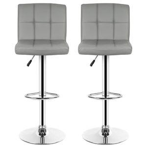 2er set Barhocker-mit Lehne | Höhenverstellbar 360° drehbar Kunstleder Grau