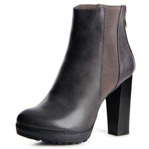 topschuhe24 1510 Damen Velours Stiefeletten Ankle Boots Schleife Fransen, Farbe:Miami Grey, Größe:36 EU