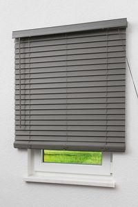 Lysel Outlet Jalousie Wood-Optik 50mm Schiefergrau Breite: 100cm Höhe: 160cm Tiefe: 6cm