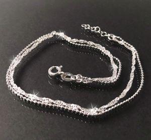 Fußkette 2 Ketten Singapur-und Kugelkette 925 Silber 24-26cm 14830-26