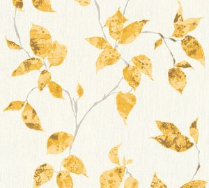 A.S. Création Blumentapete Flavour florale Tapete Vliestapete gelb gold weiß 10,05 m x 0,53 m