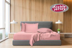 Double Jersey - Spannbettlaken 100% Baumwolle Jersey-Stretch, Ultra Weich und Bügelfrei, 120x200+38 Rosa