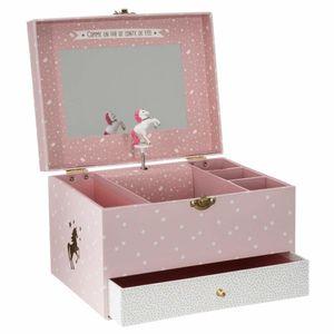 Schmuckkästchen aus stabilem Karton im Stil einer Spieluhr und Spiegel mit Pony-Motiv, rosa-weiß