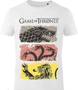 GoZoo Game of Thrones T-Shirt Homme House Stark, Lannister, Targaryen - Sigils weiß