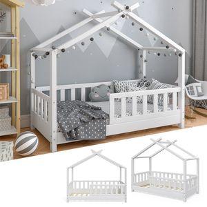 VitaliSpa Kinderbett Hausbett DESIGN weiß 70x140cm Zaun Kinder Bett Holz Haus Hausbett