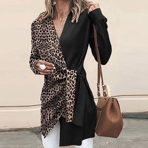 Damenmode V-Ausschnitt Langarm Leopardenmuster Kontrastfarbe Damenjacke Größe:M,Farbe:Schwarz
