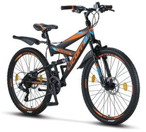 Licorne Bike Strong 2D Premium Mountainbike in 26, 27,5 und 29 Zoll - Fahrrad für Jungen, Mädchen, Damen und Herren - Scheibenbremse vorne und hinten - Shimano 21 Gang-Schaltung - , Farbe:Schwarz/Blau/Orange, Zoll:26