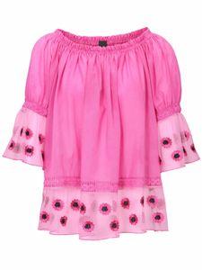 heine Shirt Carmen-Bluse oversized Damen 3/4-Arm Bluse mit Spitzeneinsatz Pink, Größe:38