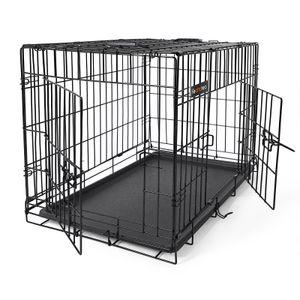 FEANDREA Hundebox faltbar | L 75 x 54 x 47 cm | Hundekäfig mit 2 Türen | Drahtkäfig | Gitterbox | Transportbox für Katzen/ Hasen/ Nager/ Kaninchen/ Geflügel | schwarz PPD30H