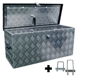 Truckbox D120 + inkl. Montagesatz MON4002 Deichselbox, Werkzeugbox, Alu Riffelblech, Transportbox, Alu Transportkiste, Anhängerkiste ca. 118 Liter