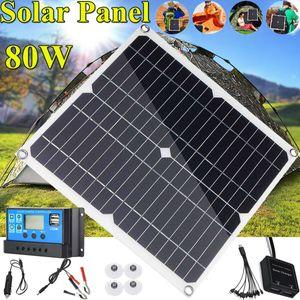 80W 18V Flexible Solarpanel Solarmodul Laderegler Controller Kit Set Wohnwagen/Camping
