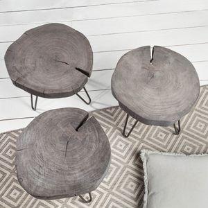 Industrial Beistelltisch GOA 35cm grau Akazienholz Hocker Wohnzimmertisch Nachttisch mit Hairpin Legs