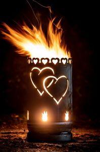Feuertonne Liebe Feuerstelle Feuersäule Gartenfeuer Herzen Tauben
