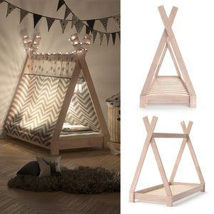 VITALISPA Kinderbett TIPI Indianer Bett Kinderhaus Holz Hausbett 70x140cm Natur