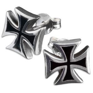 viva-adorno 1 Paar Herren Ohrringe Ohrstecker 925 Silber Kreuz Z395