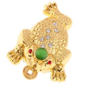 Feng Shui 3 Legged Glücksbringer Chinesische Antike Reichtum Frosch Kröte Figur M