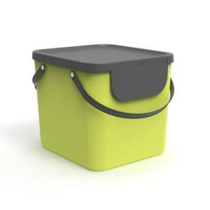 Rotho Albula Mülltrennungssystem 40l für die Küche, Kunststoff (PP) BPA-frei, hellgrün/anthrazit, 40l (40.0 x 35.8 x 34.0 cm)