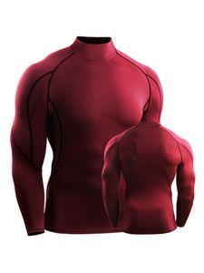 Männer Langarm Sport Fitness T-Shirt Bluse Pullover High Collar Tops Quick Dry,Farbe: Rot,Größe:L