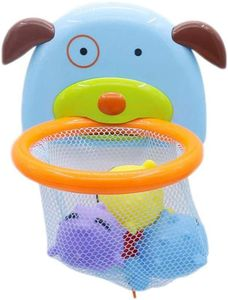 Mini basketball basketball basketball basket, bath toy mini basketball suction cup dark for bathroom, water toy (4 fish)