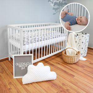 Alcube Babybett 140x70 cm mit Matratze und Schublade I Gitterbett 70x140 cm in weiß I Gitterbetten Holz Kinderbett