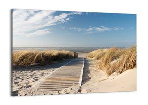 "Leinwandbild - 100x70 cm - ""Hinter der Düne, im Rascheln des Grases""- Wandbilder - Meer Strand Düne - Arttor - AA100x70-2657"