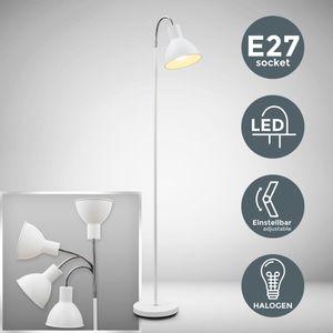 LED Stehlampe exkl. E27 Leuchtmittel weiß chrom IP20 dreh- und schwenkbar moderne Stehleuchte B.K.Licht