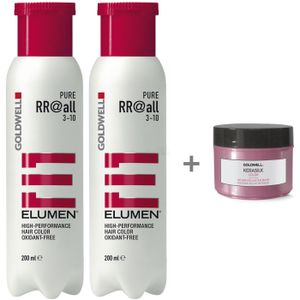 Goldwell Elumen Haarfarbe 2er Set - Pure RR@all Rot 2x 200ml + Kerasilk Color Intensive Luster Mask Mini 25ml
