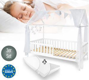 Alcube SET Hausbett 90x200 cm mit Deko weiß und Matratze - Massivholz Kinder Bett mit Rausfallschutz und Lattenrost 200x90 cm - Weiß