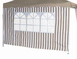 Siena Garden 400-301 Seitenteile Faltpavillon 1x mit u. 1x ohne Fenster 100% Polyester, taupe/weiß (1 Stück)
