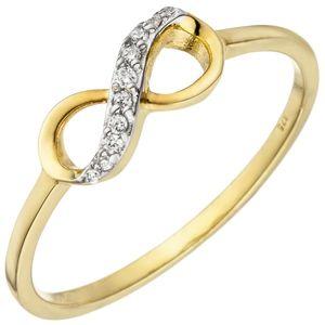 JOBO Damen Ring 56mm Unendlichkeit 375 Gold Gelbgold 10 Zirkonia Goldring