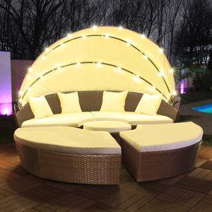 LED - Sonneninsel Rattan Lounge Polyrattan Sitzgruppe Liege Insel 210cm inkl. Abdeckcover