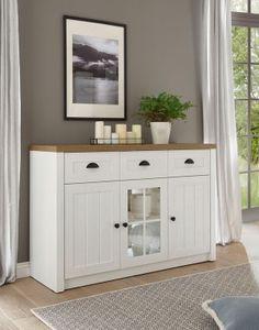 Landhaus Sideboard Wohnzimmer Provence 130cm pinie weiß eichefarben hell