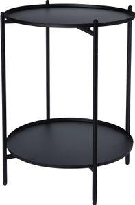 Beistelltisch aus Metall - mit 2 Ablagen - Ø35 x H50cm - Farbe: schwarz