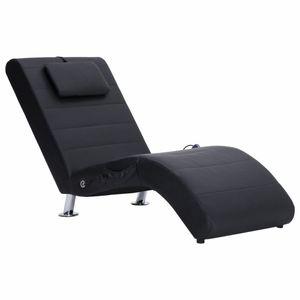 vidaXL Massage Chaiselongue mit Kissen Schwarz Kunstleder